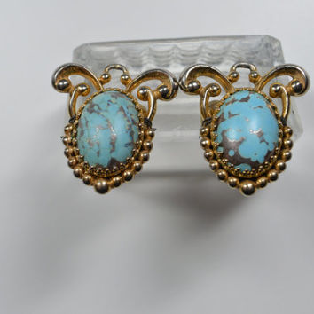 Vintage Signed SCHIAPARELLI Aqua Turquoise-Like Cabochon Earrings Ornate Goldtone Vintage Designer Clip Earrings Vintage Earrings