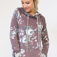 Hooded French Terry Floral Top