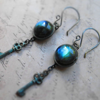 Labradorite mystic patina earrings / labradorite, oxidized brass, metal, patina, key
