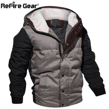 ReFire Gear Military Style Winter Jacket Men Warm Cotton Parka Coat Casual Autumn Thermal Fleece Knitting Hoodie Jacket EUR Size