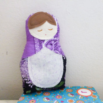 Fabric doll, matryoshka doll, stuffed doll, Russian doll, cotton fabric, ready to ship, nesting doll, handmade, brown hair, cute doll
