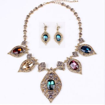 Antique Gold Plated Crystal Rhinestone Necklace and Earring Jewelry Set