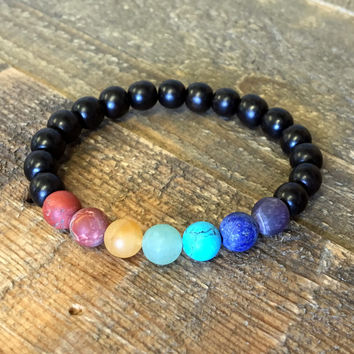 Men's Chakra Bracelet, Matte Gemstones and Ebony Bracelet