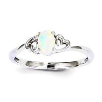 Sterling Silver and Opal Double Heart Ring