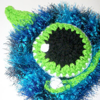 monster hat - baby boy photo prop - blue monster hat -   ready to ship fuzzy boy hat