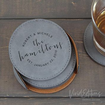 Personalized Round Leather Coaster Set of 6 - Gray CB02