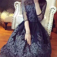 High-end Black Women Embroidery Lining Hollow Out Prom Dress