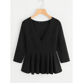 Scallop Plunging Zipper Side Peplum Blouse