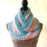 Ready To Ship Long Mint Peach Ivory Cowl Scarf Fall Winter Women's Accessory Infinity Scarf