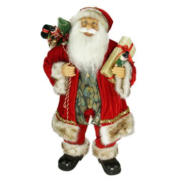 """24"""" Old World Style Standing Santa Claus Christmas Figure with Gift Bag and Presents"""