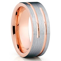 Rose Gold Tungsten Wedding Band - Double Groove - Rose Gold Tungsten - Men's