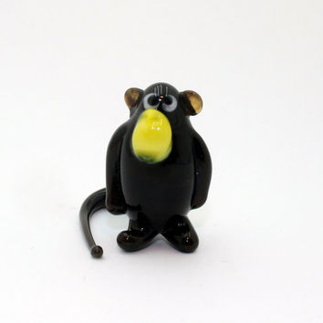 Glass Black Monkey Figurine Monkey Figurine Glass Glass Animal Sculpture Glass Art Monkey Figure Monkey Figure Monkey new year(010bl)
