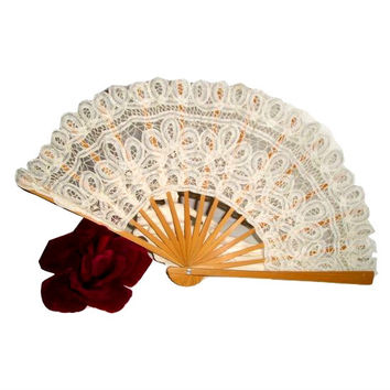 Vintage WHITE Battenburg Lace and Wood XL FAN. Unique Lace Folding Fan. Vintage Handmade Lace Fan