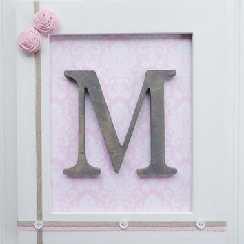 Framed Nursery Letters, Pink Damask, Pink Nursery, Framed Wall Letters, Stained Nursery Decor, Nursery Art, Pink Shabby Chic Nursery, Baby