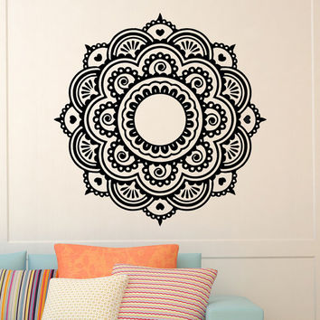 Mandala Wall Decal Vinyl Sticker Yoga Lotus Flower Namaste Decals Murals Bedroom Dorm Studio