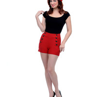 Voodoo Vixen Red High Waist Super Stretch Button Down Shorts