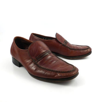 Brown Loafers Shoes Leather Vintage 1970s Florsheim Men's size 8 D