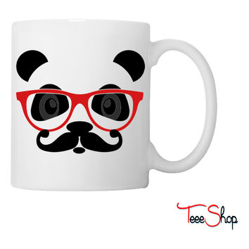nerd panda with moustache and glasses Coffee & Tea Mug