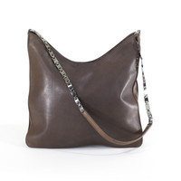 Kenneth Cole Leather Purse Brown Bag Chain Strap Tote