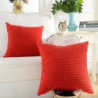 Home Brilliant Solid Red Soft Striped Corduroy Accent Throw Cushion Cover for Square Pillow (Red, 18 x 18 inch), 1 Pc