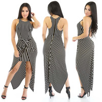 Vertical Stripes Printed Maxi Dress