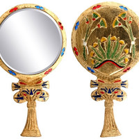 Egyptian Floral Lotus Flower Hand Mirror - 6162