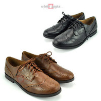 New Women Oxford Lace Up Flats Faux Leather Low Heel Soda Casual Shoes Toast