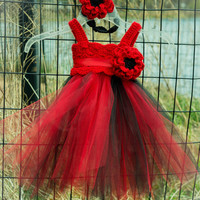 Red and Black Crochet Tutu Dress, Girls tutu dress, Flower girl tutu dress, Newborn Fairy tutu dress, Baby tutu dress, Ballerina tutu dress