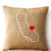US State Pillow Embroidered In White On Natural Burlap With Red Heart Personalized Cushion