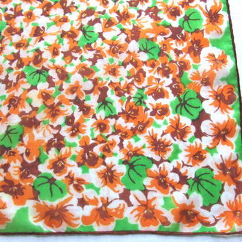 Silk Scarf with Green and Orange Pansies