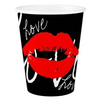 Stylish Red Lips Kiss Love Black Paper Cup