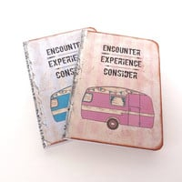 Summer Travel Journal, Retro Trailer, Pocket Moleskine, Camper, Wanderlust, Pink and Blue, Travel Notebook, Going Away Gift
