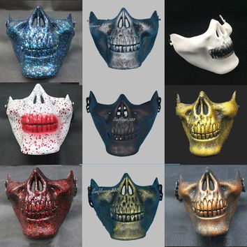 Half Face Paintball Half Face Skull Skeleton Mask Halloween Horror Masks For Adults Halloween Costume