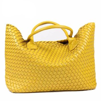 Day-First™ PU Leather Woven Shoulder Bags Tote