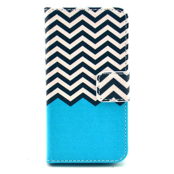 Leather Zig Zag Design Flip Case Stand Cover For iphone 5c With Card Holder