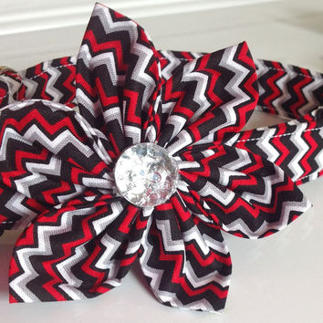 Red, Black, White & Gray Chevron Flower Collar for Female Dogs and Cats