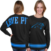 Carolina Panthers PINK by Victoria's Secret Women's Varsity Stripe Crew Neck Pullover Sweatshirt - Black