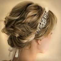 Bridal Ribbon Rhinestone Headband Hair by lottiedadesigns on Etsy