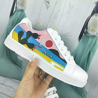 PRADA Newest Trending Woman Stylish Leather Casual Sneakers Sport Shoes