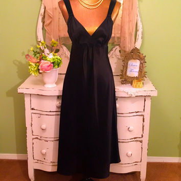 Satin & Velvet Nightgown, Oscar De La Renta, Romantic Nightie, Black Peignoir, Wedding Bridal, Elegant Lingerie, Long Satin Nightgown, Sm