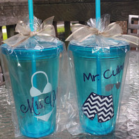 Mr. & Mrs. Tumblers ~ SET ~ customized ~ honeymoon perfect!