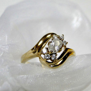 Classic Ring Sterling 14k Color Gold Vermeil Created White Topaz Cluster Ring Size 8.75
