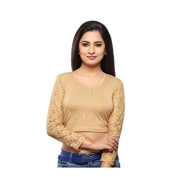 Designer Indian Gold Cotton Lycra Non-Padded Stretchable Full Sleeves Saree Blouse Crop Top (A-16)