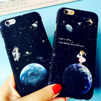 Fashion universe planet and spaceman plastic Case Cover for Apple iPhone 7 7Plus 6 Plus 6 -05012
