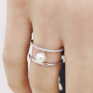 Pearl Connection Rhinestone Double Layer Cuff Ring (Slightly Adjustable) - LilyFair Jewelry