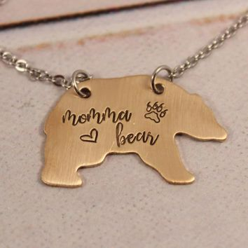 """Momma Bear"" Bear Necklace - Bronze, Copper, or Aluminum"