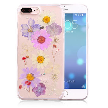 Handmade Pressed Flower Case LIMITED Real Dried Flowers Phone Case Cover for iPhone 7 7Plus & iPhone se 5s 6 6 Plus +Gift Box 263