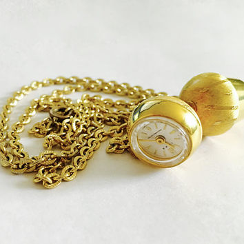 "Vintage Working LUXA Swiss Made Mechanical Shock Protected Watch in an Acorn Top Design with Separate Acorn Pendant on 27"" Textured Chain"