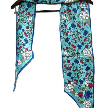 Vera Neumann Scarf, Unused Vera Scarf, Turquoise Floral Scarf, Long Scarf, Accessories, Women