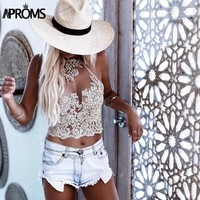 Elegant Gold Lace Embroidery Mesh Fashion Summer Beach Backless Short Halter Tops Sexy Women Crop Top